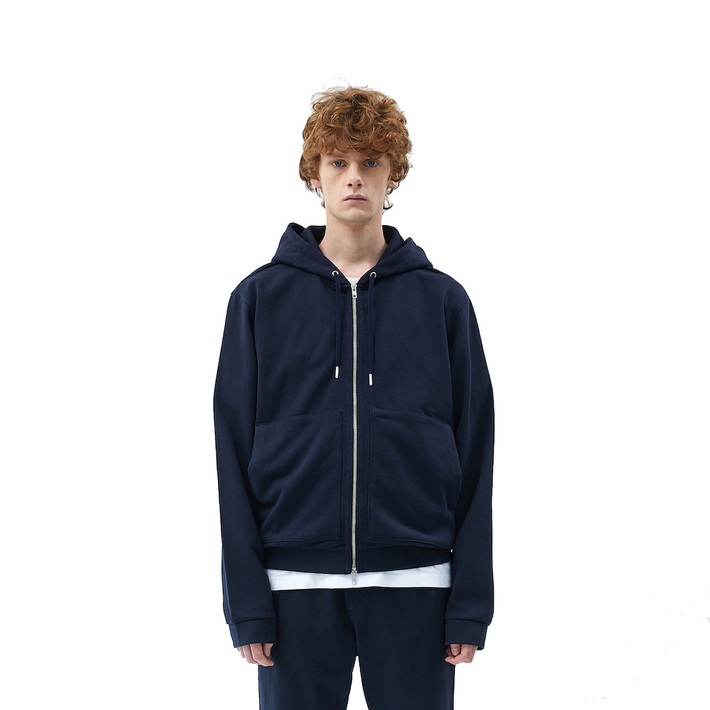에이카화이트 FINEST COTTON ZIP UP HOODIE-Deep navy