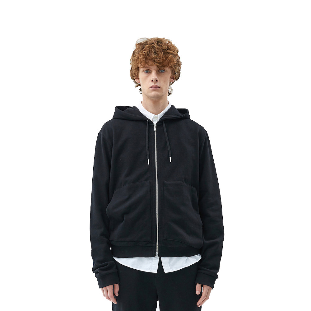 에이카화이트 FINEST COTTON ZIP UP HOODIE-Black