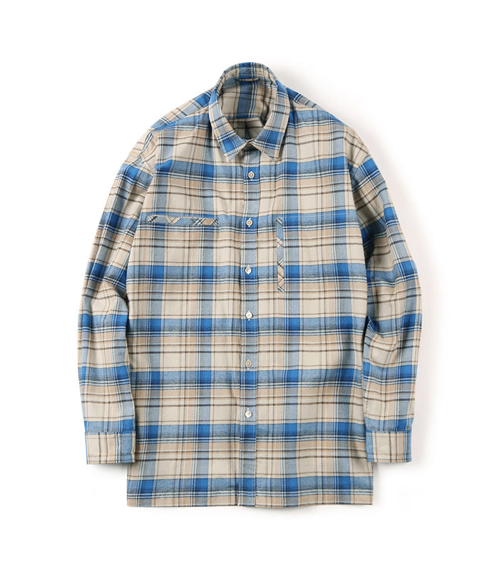 셔터 FLANNEL OVER BOX_Check Blue