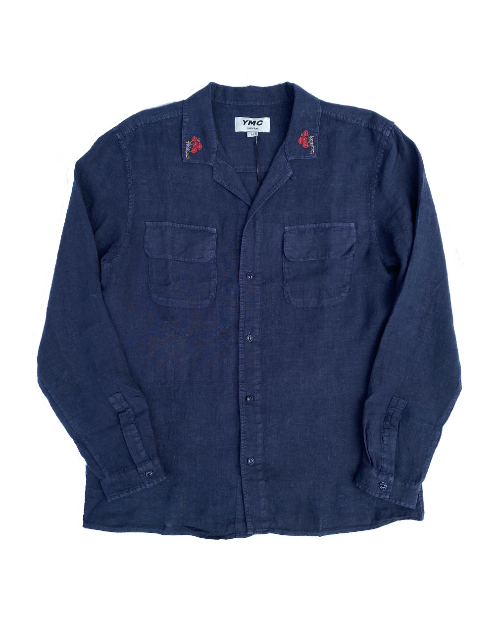 YMC Embroidered Feathers Shirt (Navy)