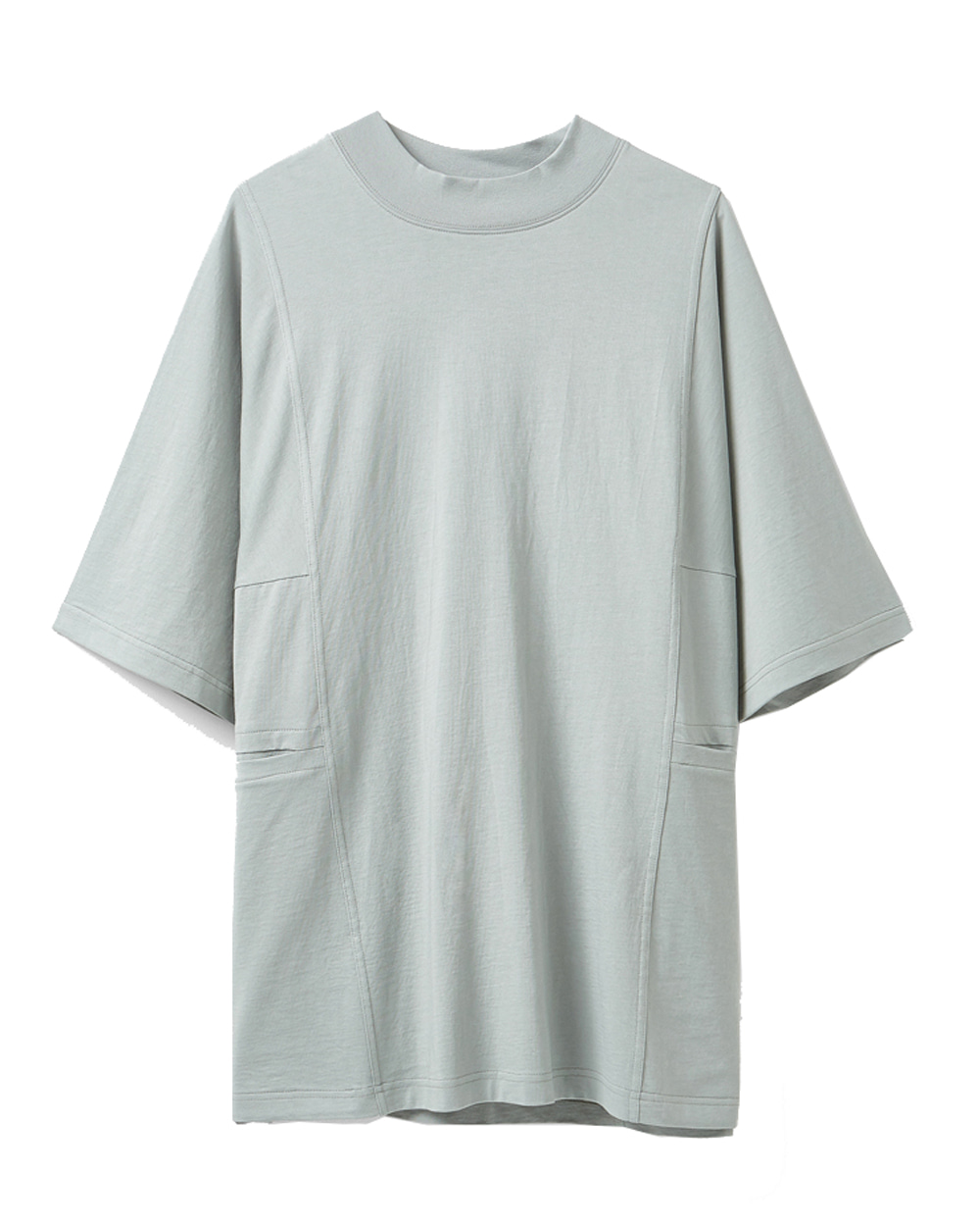유스 Mock Neck Half T-shirt (Grey)