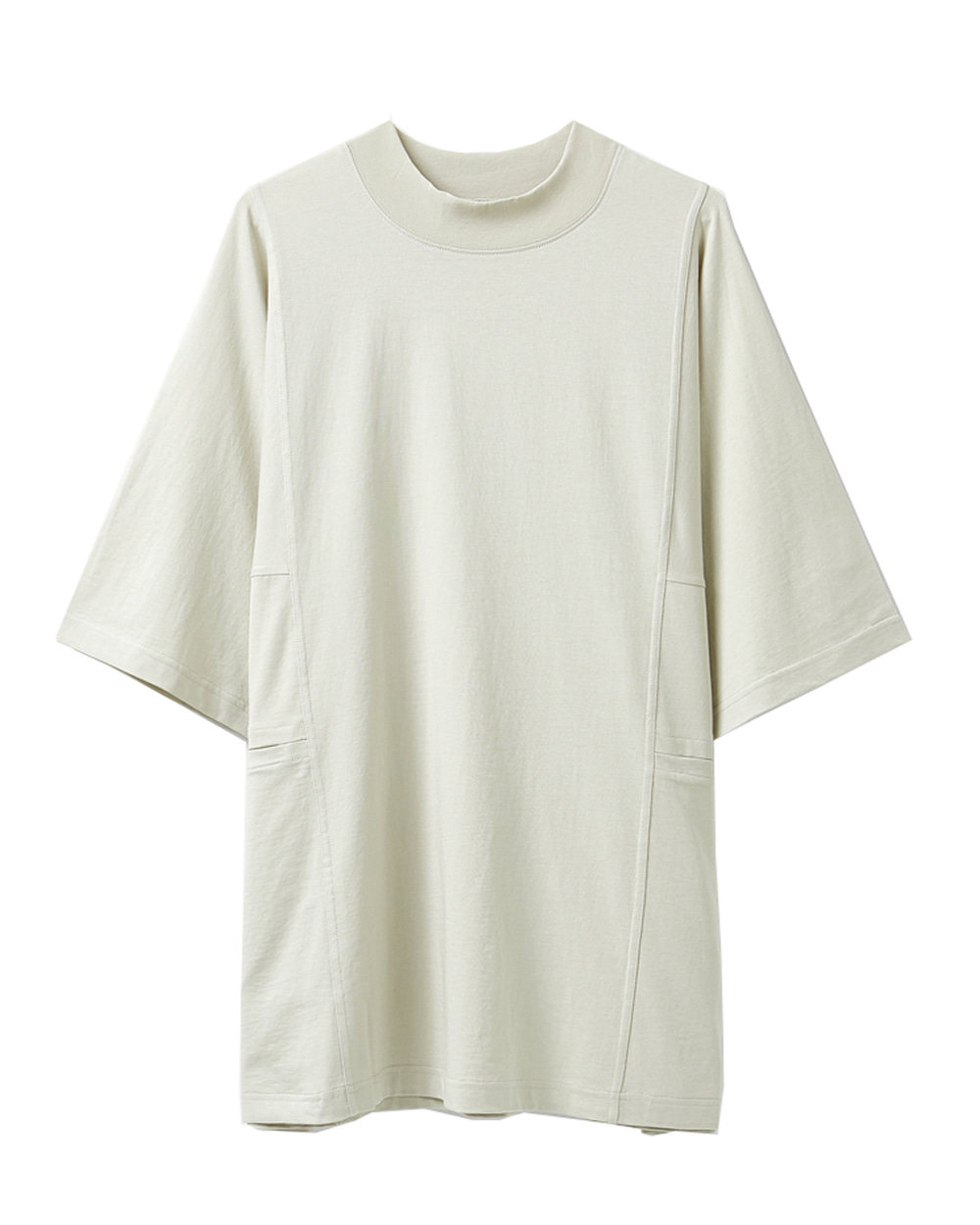 유스 Mock Neck Half T-shirt (Light Beige)