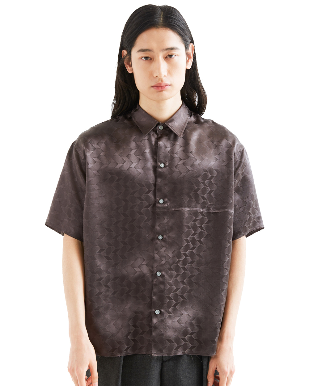 ATE STUDIO UNFINISHED SILK HALF SHIRTS (Grey)