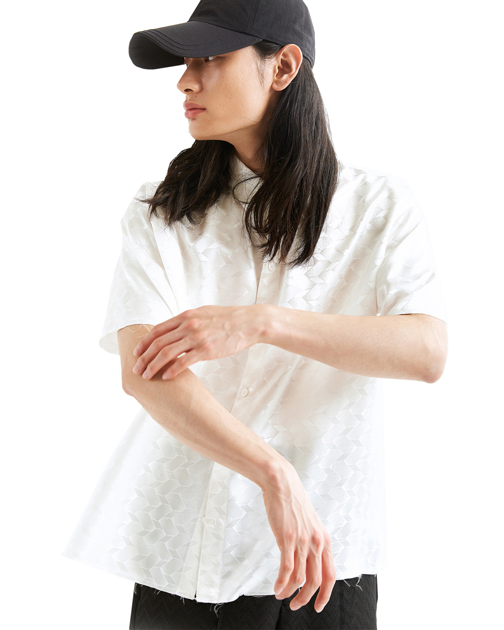 ATE STUDIO UNFINISHED SILK HALF SHIRTS (White)