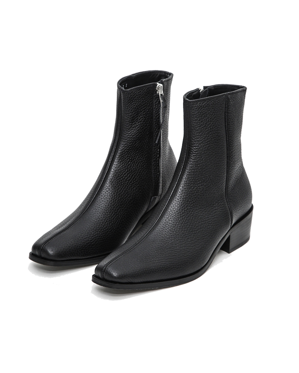 ATE STUDIOS CUBAN HEELED SQUARE CUT LEATHER BOOTS (Black)