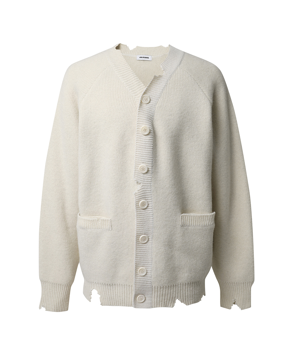 ATE STUDIOS PULLED OUT LAMBSWOOL CARDIGAN (O.White)