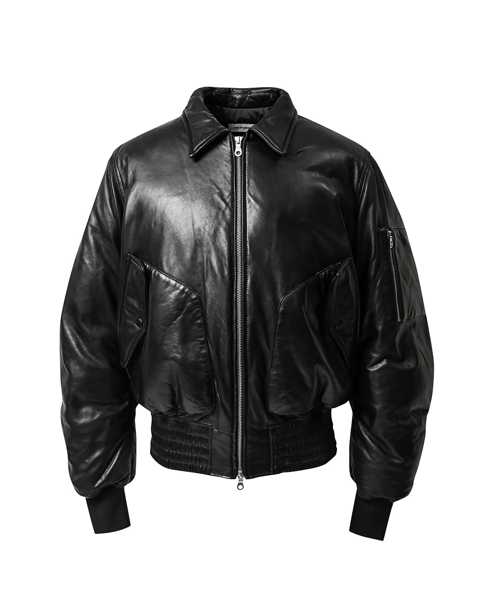 ATE STUDIOS LAMB SKIN UTILIZE LEATHER DOWN JACKET (Black)