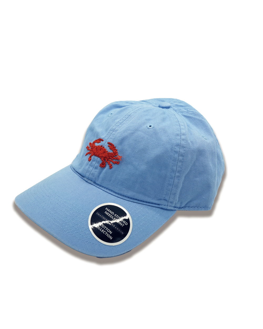SMATHERS&BRANSON Coral Crab Needlepoint Hat (Light blue)